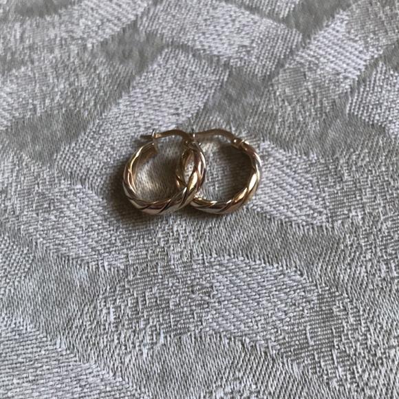 14k tri-colour gold hoop earrings